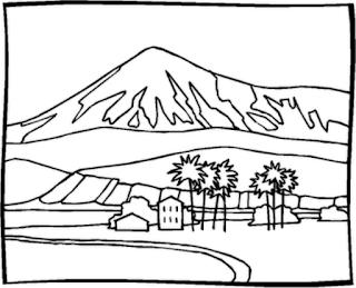 Sketsa Mewarnai Gambar Pemandangan Alam Pegunungan 201610