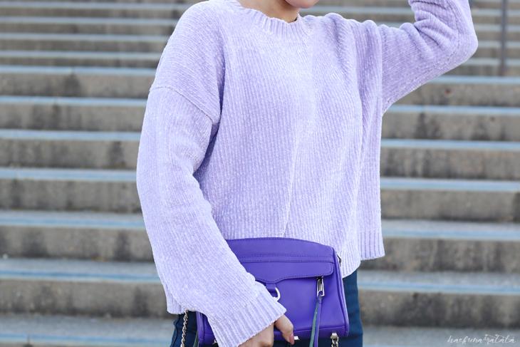 Lavender Sweater and Rebecca Minkoff Bag, Denim Skirt OOTD Blogger Style