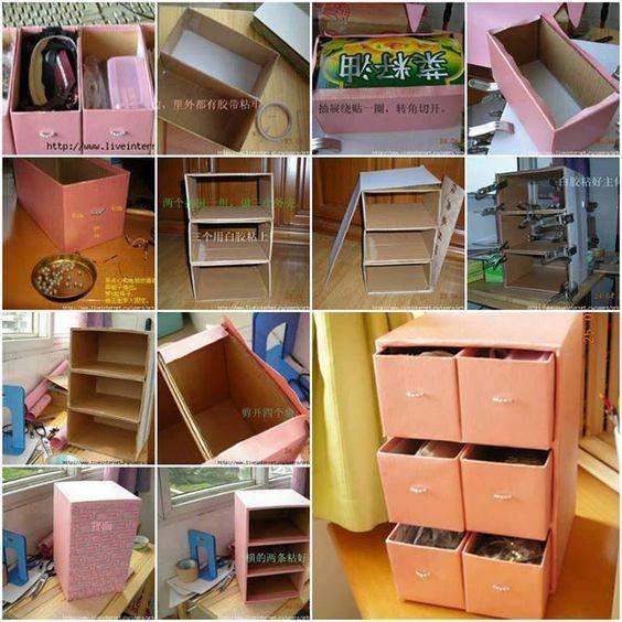 Muebles hechos con cart n construccion y manualidades hazlo tu mismo - Como hacer un organizador de zapatos casero ...