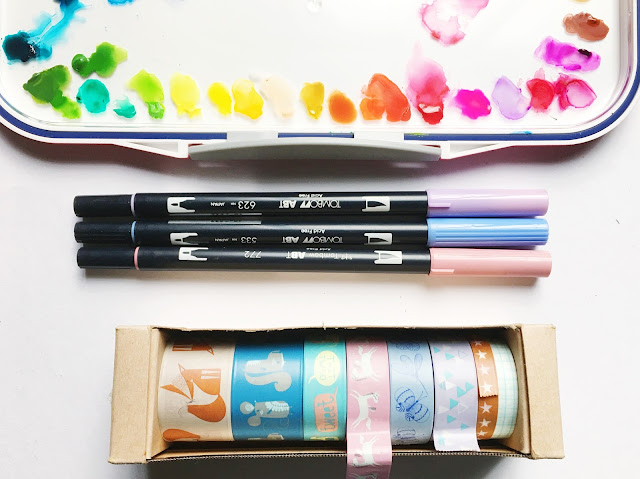 tombow pastel brush pen paperchase washi tape shinhan watercolour