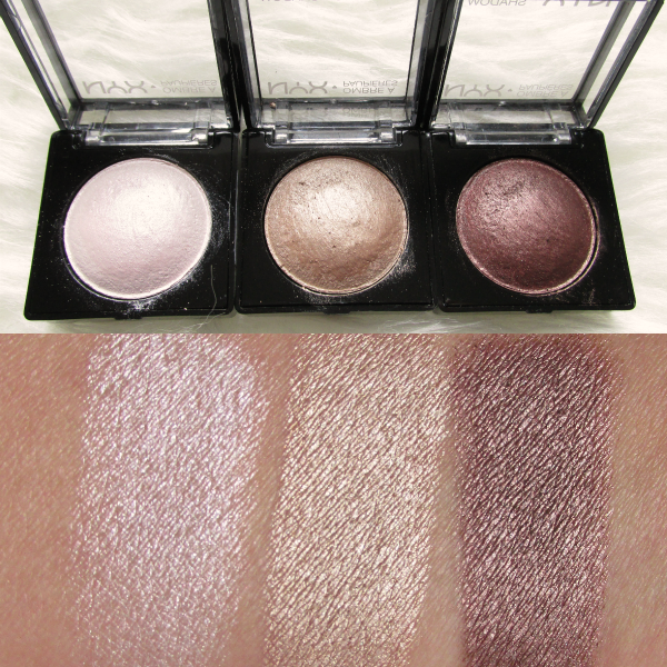 NYX Baked Eyeshadows Swatches nass White Noise, Supernova, Chance