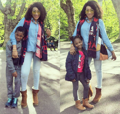 Oge Okoye dons denim on denim for outing with her kids   1