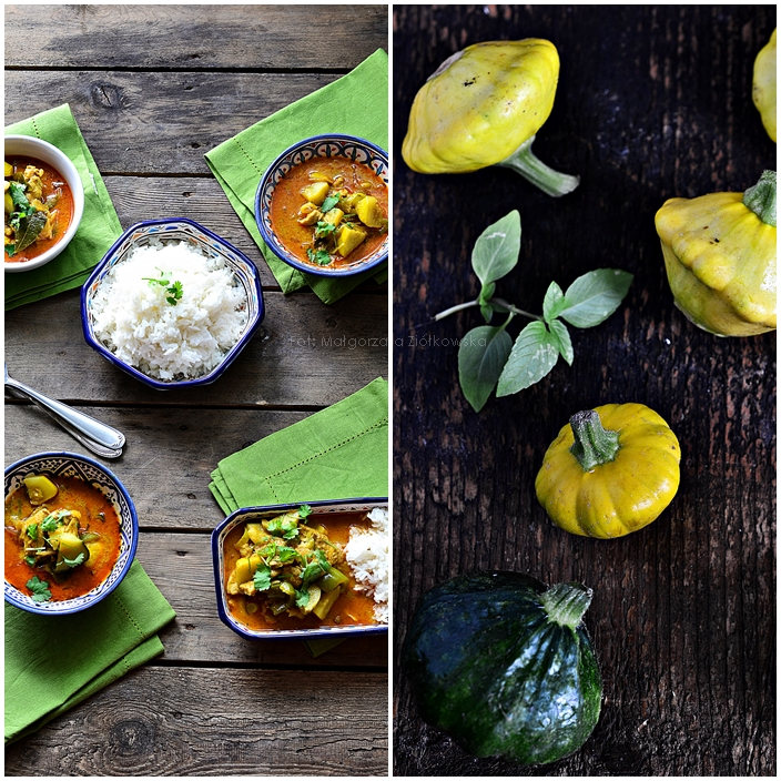 Ulubione czerwone curry z kurczakiem i  patisonem