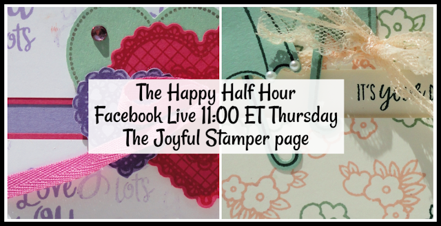 Happy Half Hour Facebook Live at 11 AM ET on The Joyful Stamper page | word stamps | stampin' up! | stamping class | handmade cards | scrapbook pages | heartfelt | hearts | under my umbrella | umbrellas