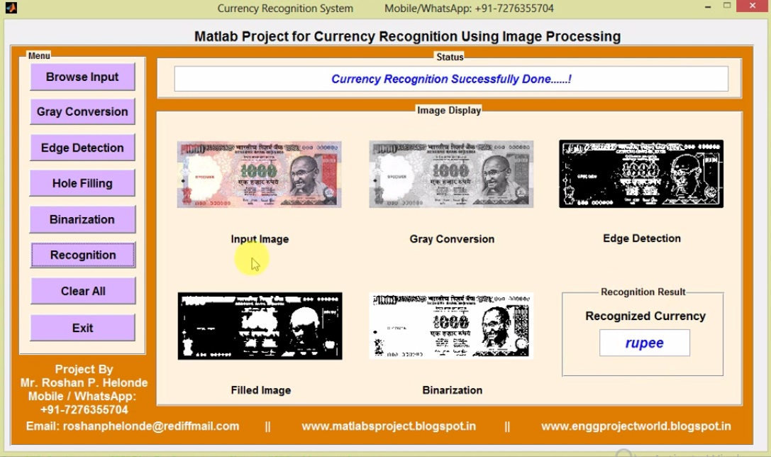 Currency Recognition Using Image Processing Matlab Project
