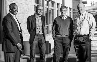 """""""Microsoft: John Thompson y Satya Nadella, presidente y CEO, Bill Gates y Steve Ballmer"""""""