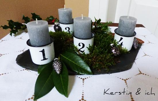 emaillierte Töpfe Kerzen grau
