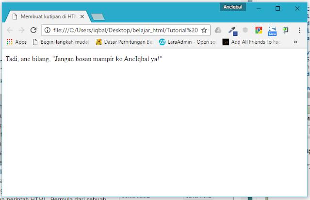 membuat kutipan di html