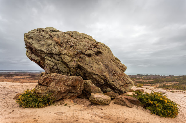 Huge rock of Agglestone situated in Studland Bay on the Dorset coast
