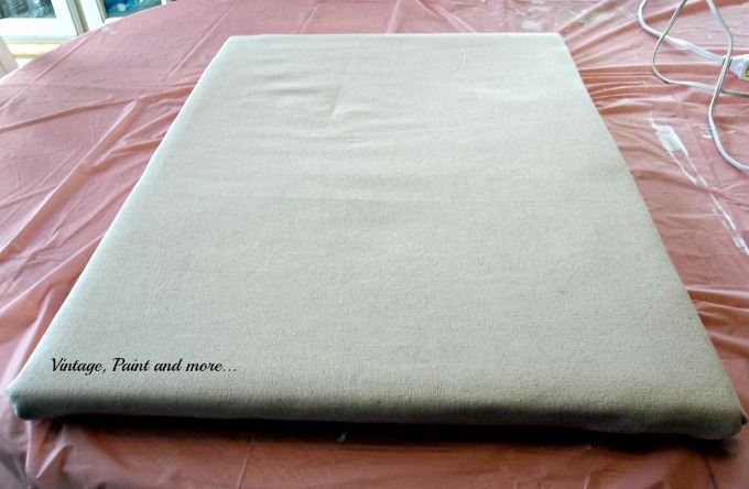 Vintage, Paint and more... drop cloth covered bulletin board, diying a bulletin board,