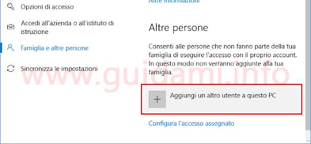 Windows 10 aggiungere un altro account utente