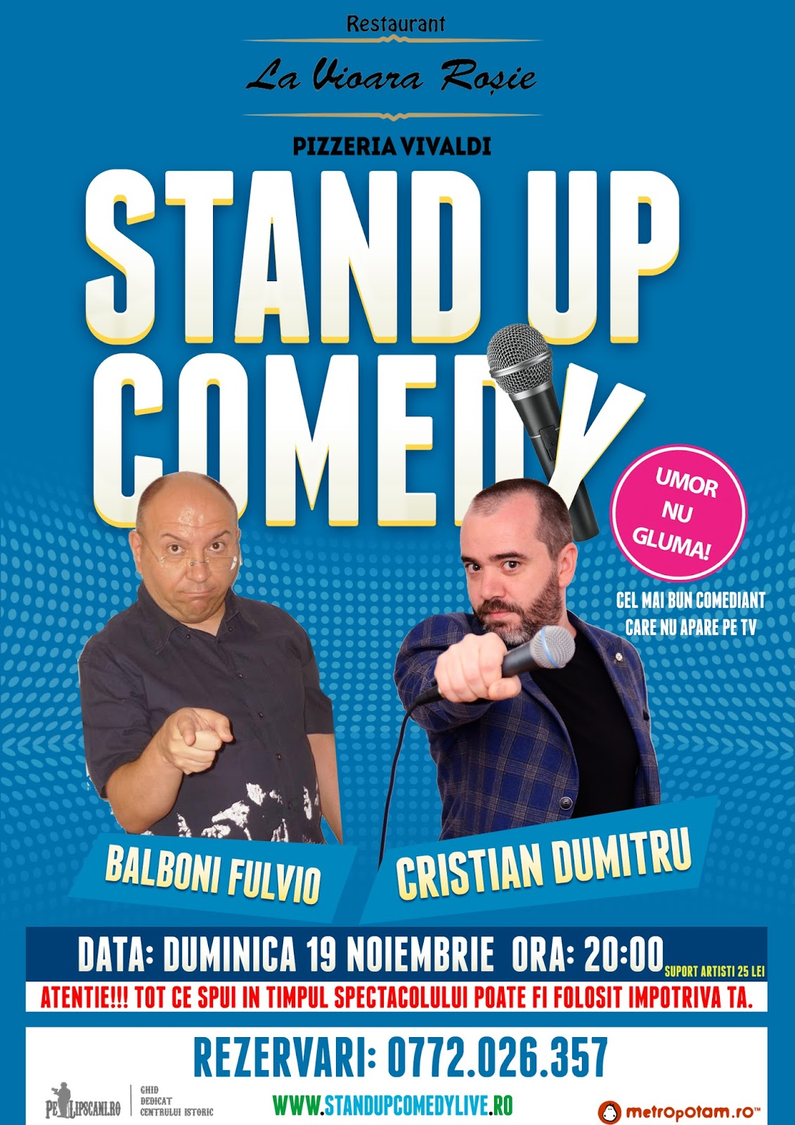 Stand-up Comedy Duminica 19 nov. ora 20 | Pizzeria Vivaldi