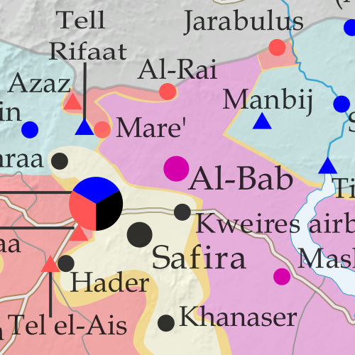 Map of fighting and territorial control in Syria's Civil War (Free Syrian Army rebels, Kurdish YPG, Syrian Democratic Forces (SDF), Al-Nusra Front, Islamic State (ISIS/ISIL), and others), updated for August 2016. Now includes terrain and major roads (highways). Includes recent locations of conflict and territorial control changes, such as Jarabulus, Manbij, Daraya, Hasakah, and more (color blind accessible).