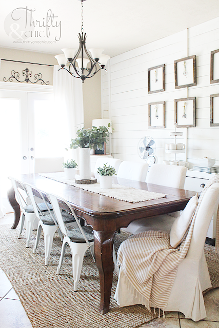DIY faux wood beams. How to add character to your house. Farmhouse dining room decor and decorating ideas.