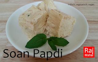 Soan Papdi: flockige Süßigkeit mit Kichererbsenmehl, Kardamom, Mandeln und Pistazien (vegan)