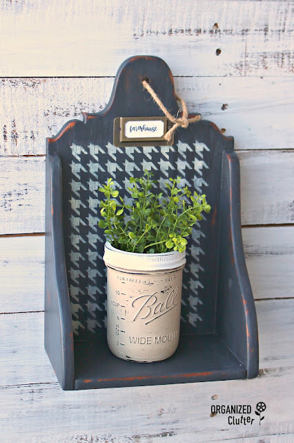 Thrift Shop Country Shelf Upcycle with Chalk Paint & Houndstooth Stenci