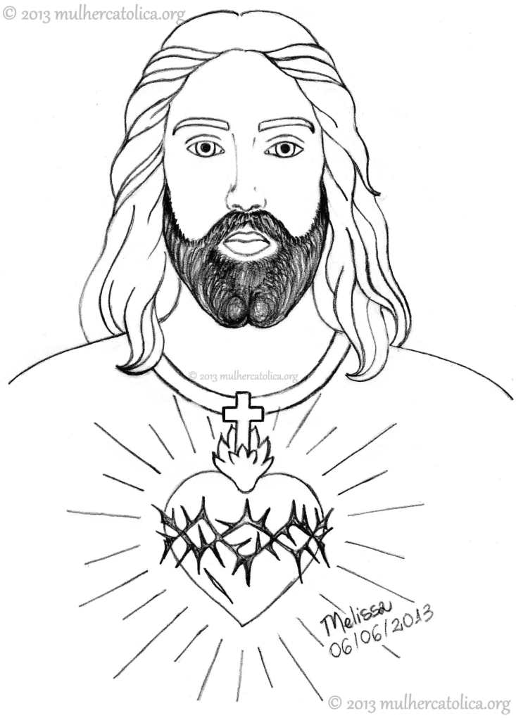 Desenho para colorir do Sagrado Coração de Jesus