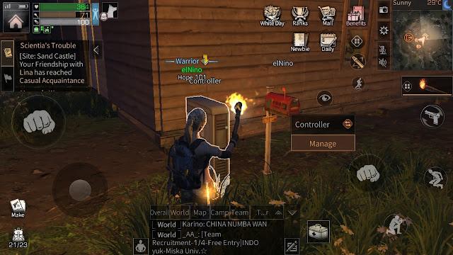 Gambar player yang sedang mencoba mengupgrade manor melalui controller