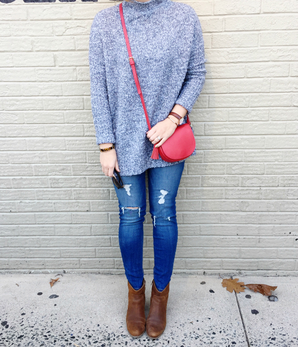 mom style, mom fashion, gray sweater, red crossbody bag, style on a budget