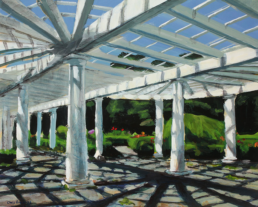 Acrylic painting of the white arbor at Sonnenberg Gardens. Located in the Old Fashioned Gardens.