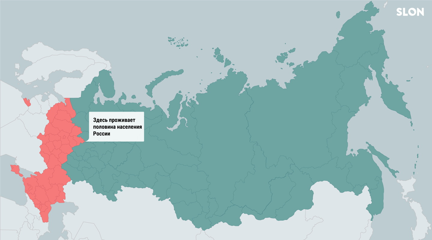 Half of Russia's 144 million population lives in the red part