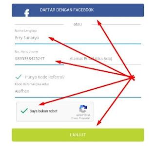 Form pendaftaran aplikasi KUDO