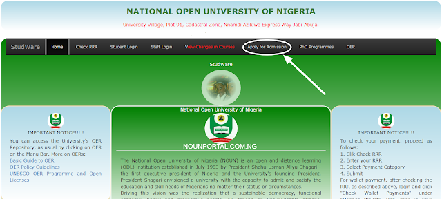 National Open University of Nigeria Apply for Admission homepage button NOUOnline.NET