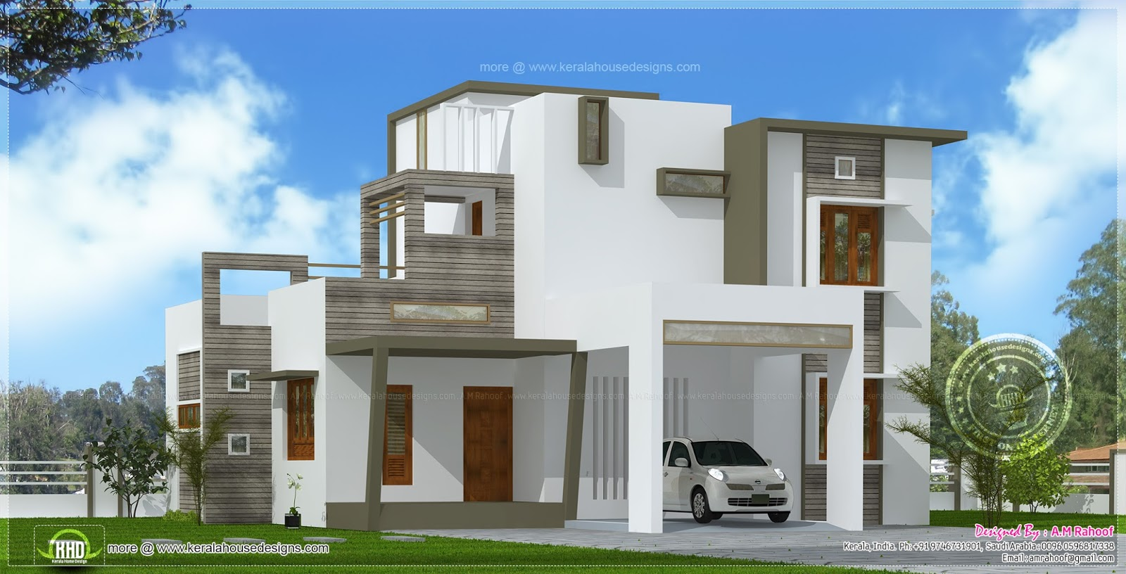 Contemporary style house in 2300 square feet kerala home for Modern home styles designs