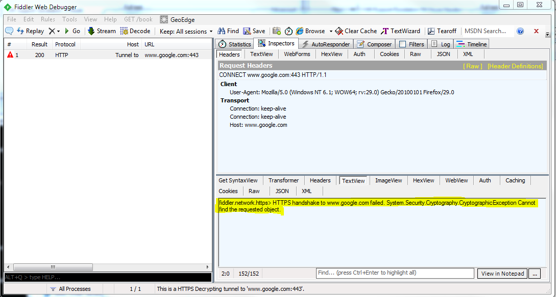 root9 net: Fiddler SSL interception not working