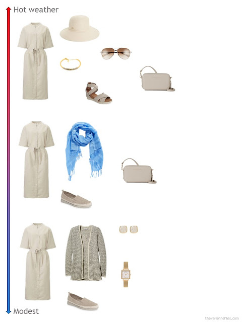 3 ways to style a beige linen dress from a travel capsule wardrobe