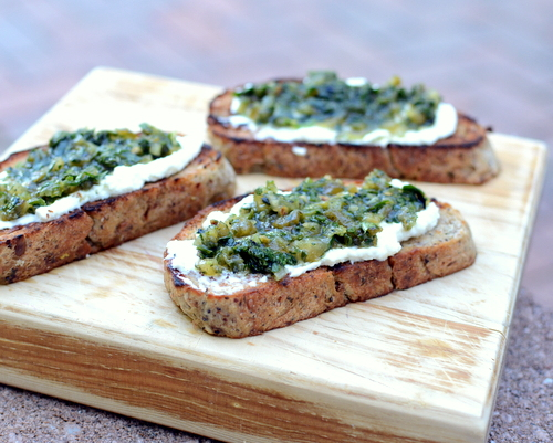 Homemade Ricotta ♥ KitchenParade.com, here schmeared on homemade bread with a tomatillo-herb spread.