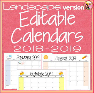 Editable Calendars 2018-2019 Landscape