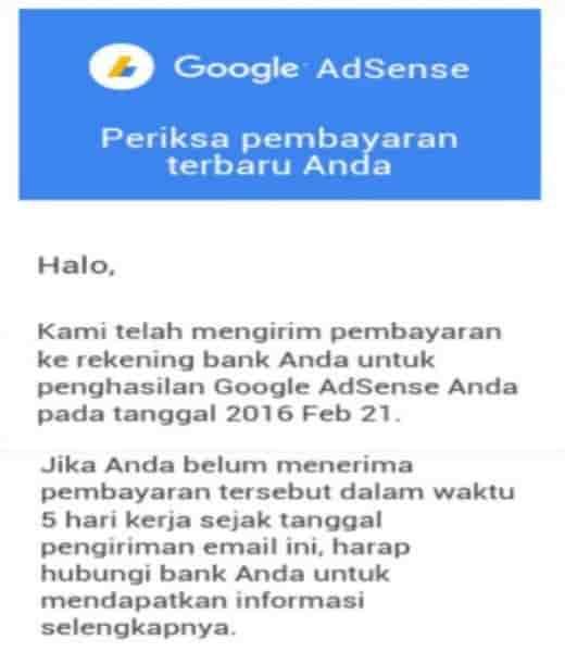 Pengalaman pertama menerima gaji dari google adsense