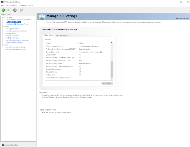 Nvidia Control Panel Settings for SLI Setup