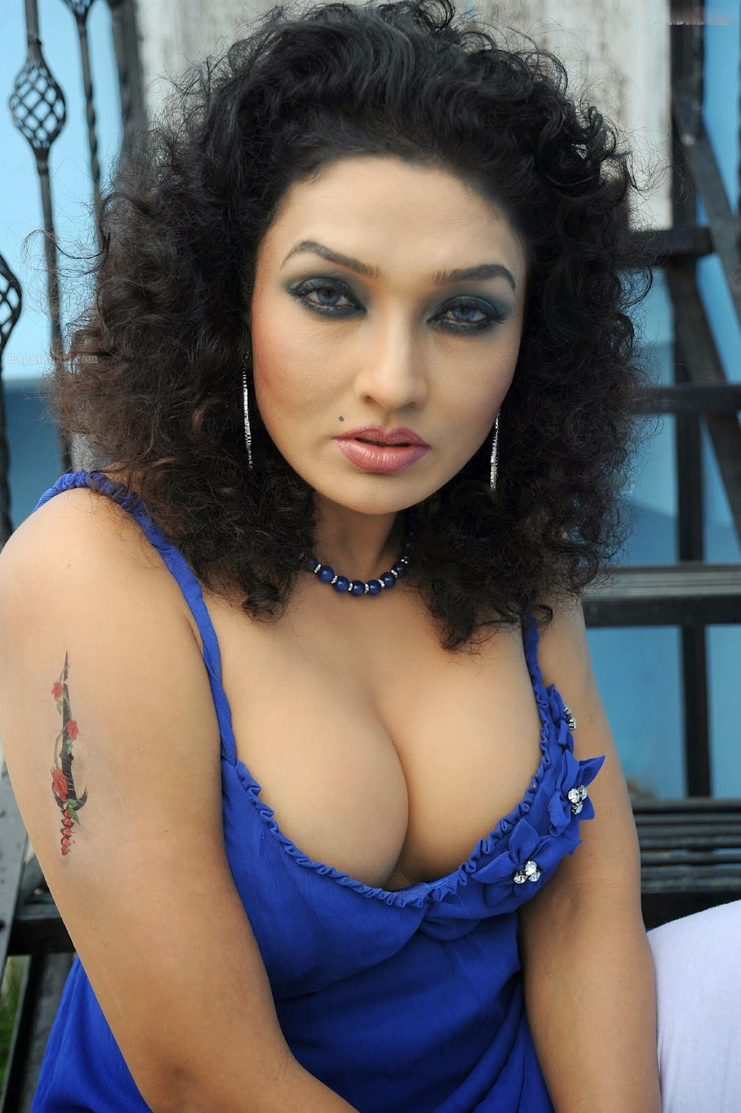 Ramya Sri Hot Blue Dress Cleavage Show  Ramya Sree Big -4759