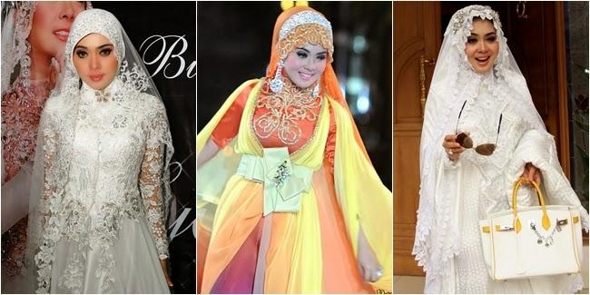 Desain Gamis Muslim Brokat Syahrini, Megah dan Elegan