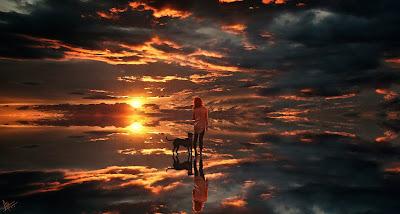 Chica con su perro parada sobre el cielo con efecto increíble