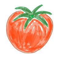 アイコン 「プチトマト」 (作: 塚原 美樹) ~ 色を塗るとそれらしくなる