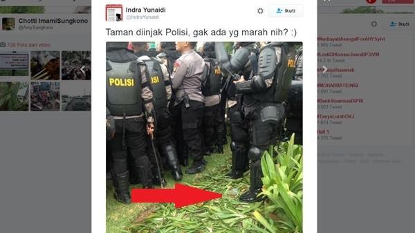 Saat Polisi Injak Taman, Mengapa Media Nasional Tidak Meliput Dan Mempermasalahkannya?
