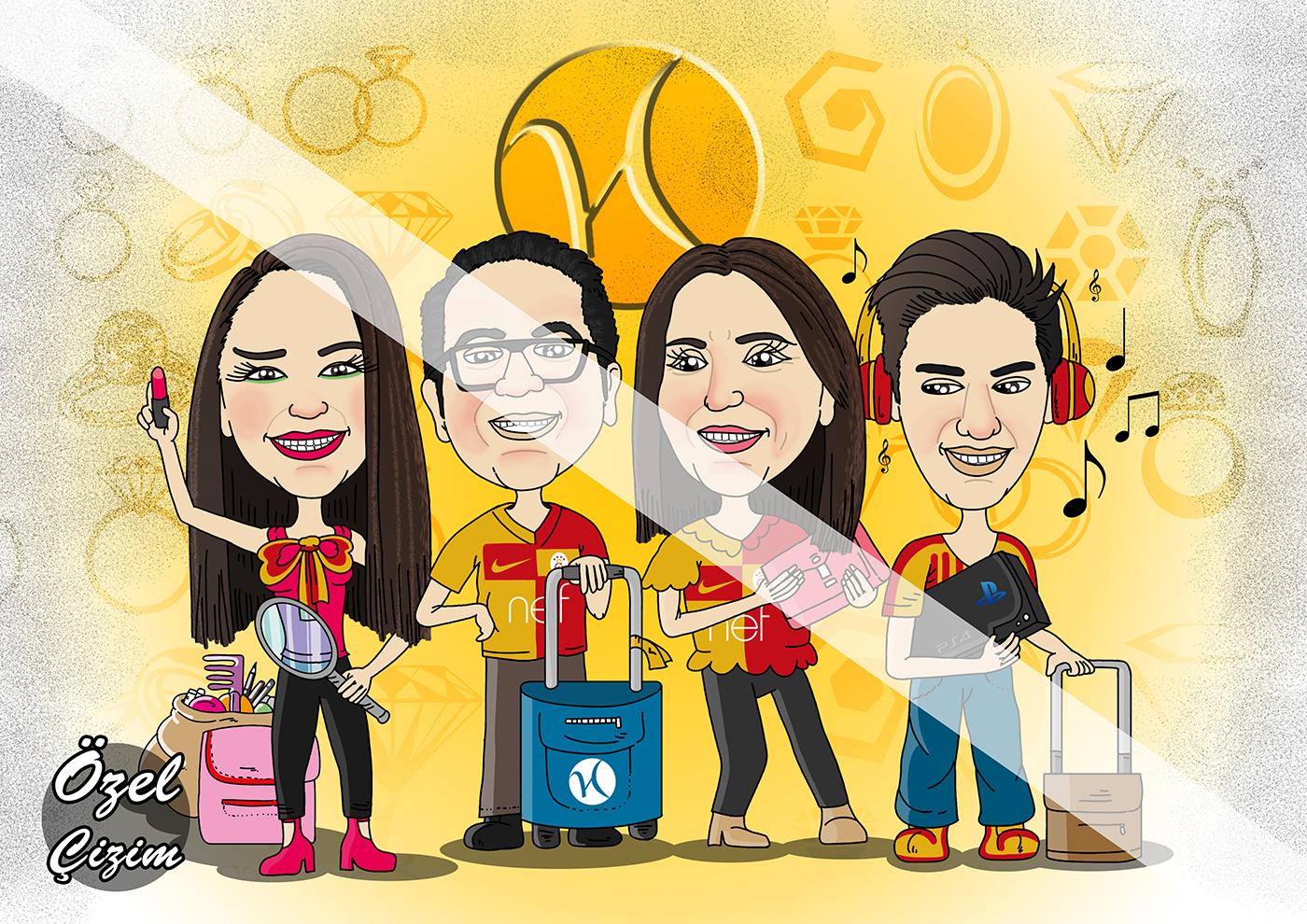 Hediye karikatür,Aileye hediye,Aile dostunuza,Yurt dışı hediye,Kuyumcuya hediye,Karı kocaya hediyeler,Galatasaray taraftarı hediye, taraftara hediye, Galatasaray, hediye portre, hediye sepeti,