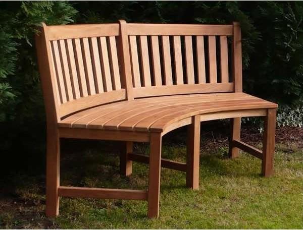 Contour teak bench