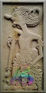 Relief wayang antasena ukiran batu alam paras jogja