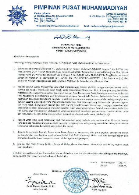 Keputusan 1 Syawal 1437 Hari Raya Idul Fitri Muhammadiyah