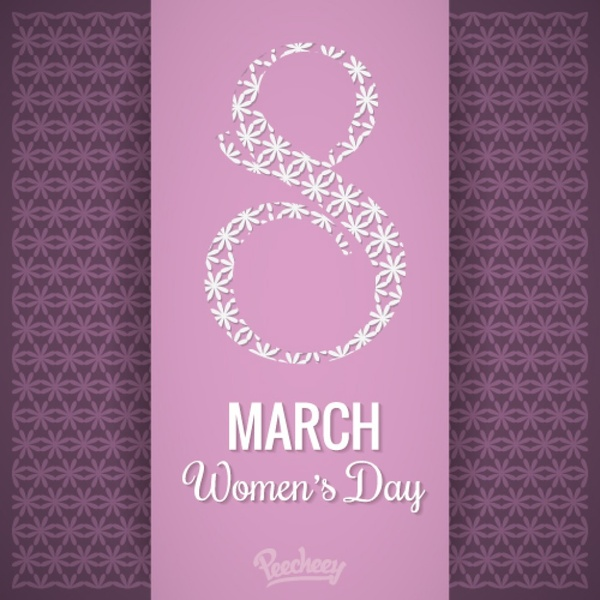 8 march Happy womens day purple background Free vector