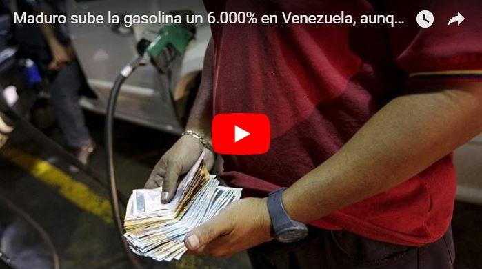 Maduro anunció aumento de la gasolina en 6.000% la de 95 y en 1282% la de 91 octanos