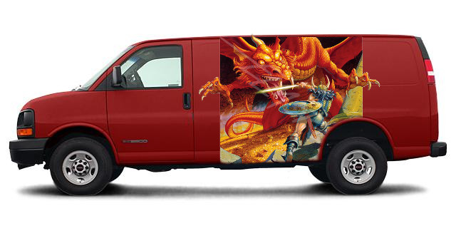 D&D Basic art on a van