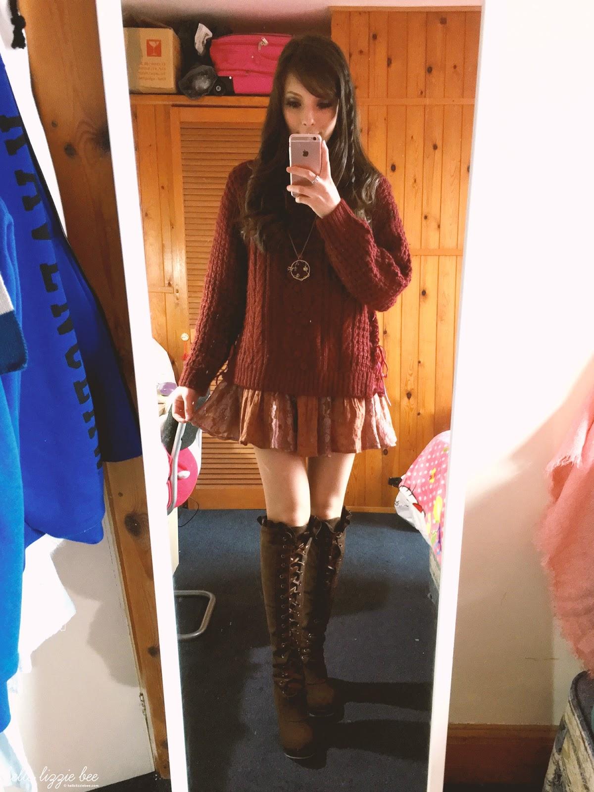 winter gyaru outfit
