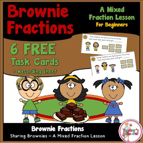 Free Brownie Sharing Mixed Fraction Lesson