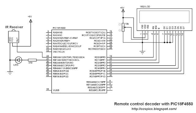 RC5 IR remote control protocol decoder with PIC18F4550 microcontroller circuit schematic CCS PIC C