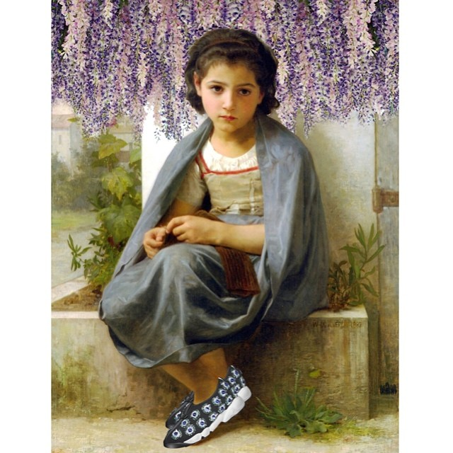 Original: The Little Knitter. Added: Dior a trainers and wisteria because nothing is more Dior than hanging flowers
